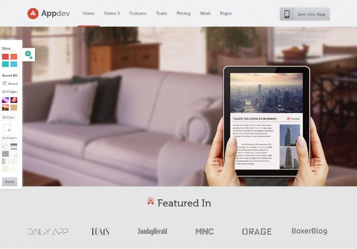 Theme WordPress giới thiệu App trả phí phổ biến nhất hiện nay AppDev