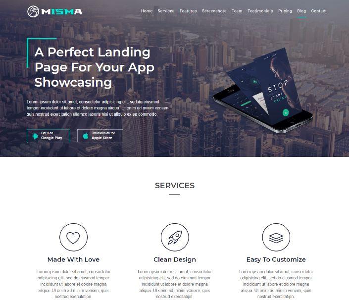 Mẫu website app Misma