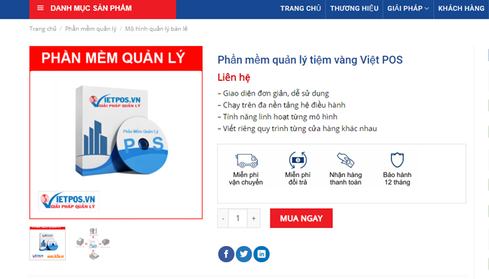 Phần mềm quản lý tiệm vàng chuyên nghiệp - Việt POS